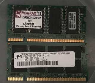 Notebook ram ddr 1g+512mb pc2100