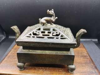 紫铜香炉,手工铸造,清朝时期,包浆醇厚!特价