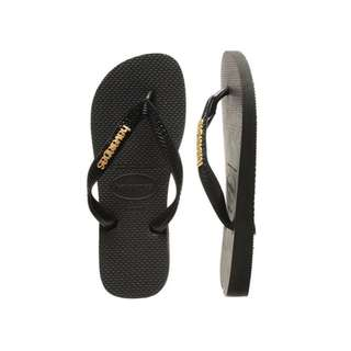 Havaianas Slippers Black Logo Metallic Things