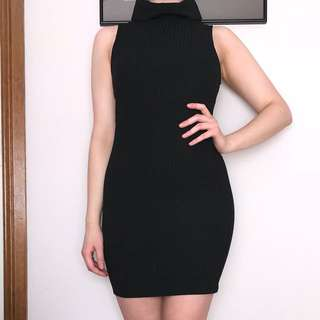 Rolled Neck Ribbed Bodycon Dress