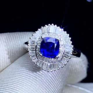 18K鑲嵌南非大梯鑽石 天然藍寶石吊墜戒指兩用款