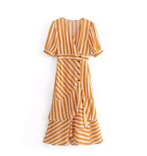 Yellow stripe V flared dress