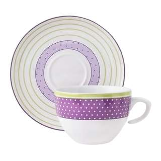 300ml Teacup Saucer desain Purple Dot AW 282