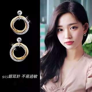 現貨S925純銀耳針小巧雙色鑲鑽圓環耳環/可改耳夾