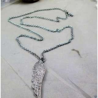 Full diamond drill long necklace FN290