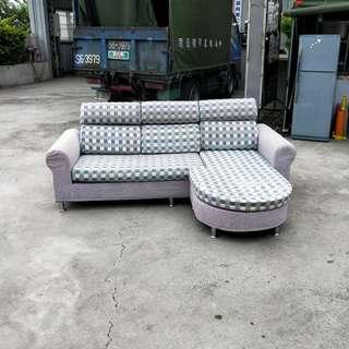 合運二手傢俱~L型橢圓布沙發A01380