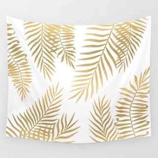 🚚 小預算佈置術金色植物裝飾掛布壁畫直播背景微裝潢Decorative Cloth Hanging Cloth Mural