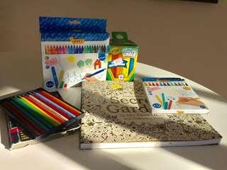 NEW  Colouring book + crayola colors + pencils + Jovi felt pens