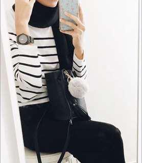 Set h&m high waist pants + stripe top