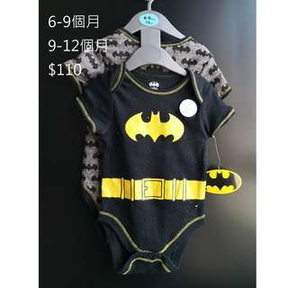 [全新] 英國直送primark BB嬰兒蝙蝠俠衫一set2件 (9-12個月)