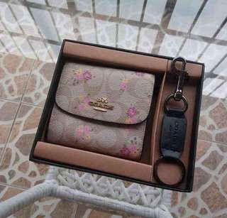 Authentic Coach Small Trifold Wallet Set