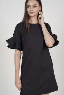 MDS Flared Ruffle sleeves Dress in Black