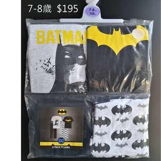 [全新] 英國直送primark 7-8 歲小童 蝙蝠俠衫褲一set4件