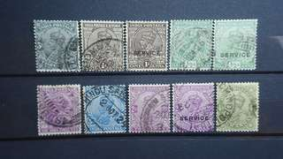 1926 British India Stamps King George V 10 pcs
