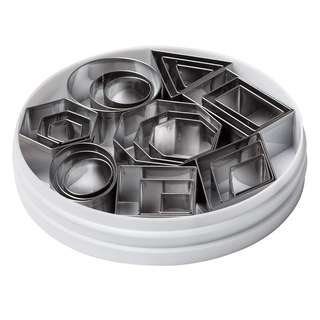 Plain Edge Geometric Shapes Cutters in Graduated Sizes, Stainless Steel, 24 Pc Set
