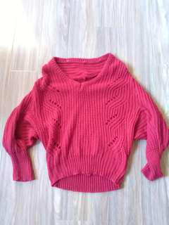 Red chunky knit jumper