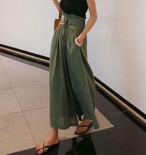 Minimei追加款✪韓系韓版百搭休閒顯瘦超顯高 大長腿好版型休閒綁帶高腰闊腿褲女