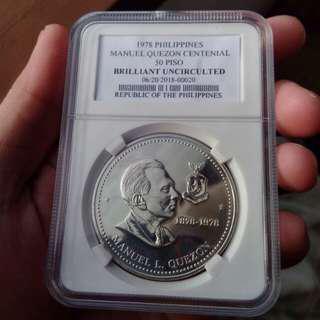 Manuel Quezon Centennial 50 Piso Commemorative Silver (Graded)