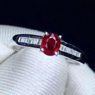 18K鑲嵌鑽石 天然紅寶石
