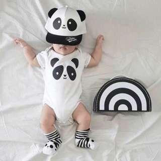 🚚 ✔️STOCK - CLASSIC WHITE PANDA NEWBORN BABY SHORT SLEEVES ONESIE UNISEX ROMPER TODDLER BOY/GIRL KIDS CHILDREN CLOTHING