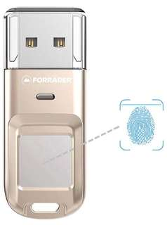 (168) Forrader Fingerprint USB Flash Drive, Metal Design High-speed Recognition Fingerprint Encrypted USB High Tech Pen Drive Security Memory USB Stick (64G Silver)