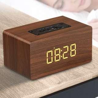 木質藍牙鬧鐘FM音箱W5 (啡木色)