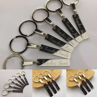 "KC012-03- Personalized Keychain Name Gift for Teacher Key Chain Customisation Engrave on Stainless Steel Name Bar - Made To Order - ""Teacher Emily"" - Cursive font 1 line- 1st letter Cap, the rest small letters"
