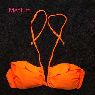 Orange halter vcut bikini top