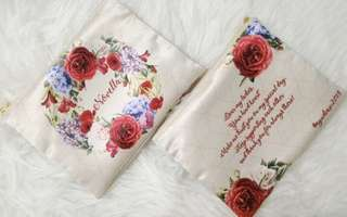 CUSTOM SATIN POUCH red rose