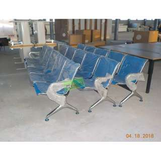 KHOMI--5 SEATER CHROME GANG CHAIR COLOR BLUE