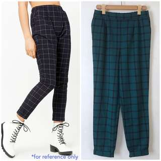 Pre-order High-Rise Grid Pants