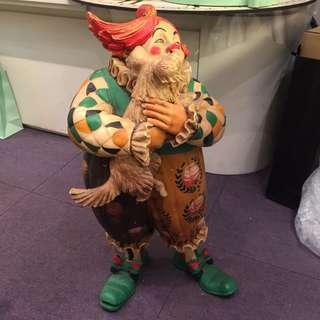 古董美國小丑擺設 腳斷了可痴返 賤價急清 clown display doll
