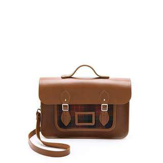 Cambridge satchel tartan pocket