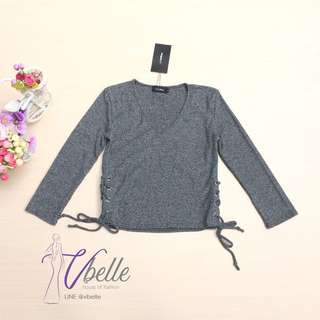 Grey lace up side top