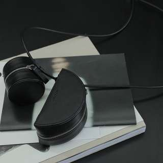 VM 原創集合形設計款 百搭單肩PU黑色 圓形/月牙形 可拆兩用小包零錢包