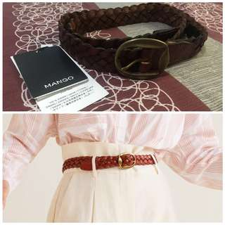 Mango Braided Leather Belt
