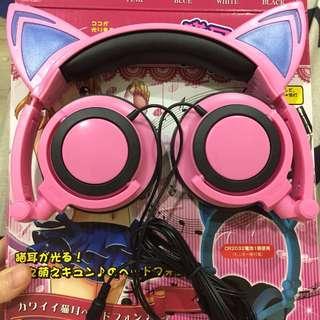 🚚 貓耳耳機 全罩式耳機 調整 主播 直播 發光 led