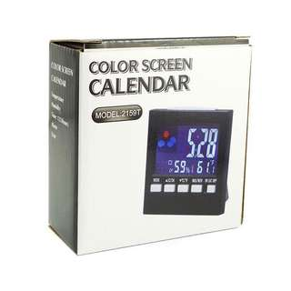 2159T Color Screen Calendar w/ Alarm, Hygrometer, Thermometer - Black