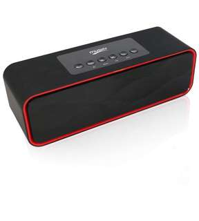 (171) Portable Bluetooth Stereo Speaker, with 2x5W Acoustic Drivers, Dual Subwoofer, FM Radio, Handsfree Speakerphone, Micro SD Card, USB and AUX-In Slots for Smart Phone, MP3, MP4, iPad, Tablet and More