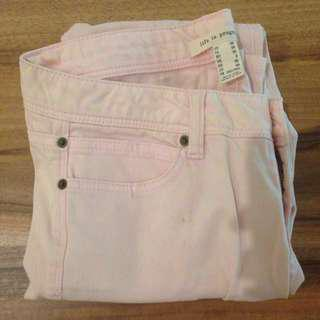 Soft Pink Forever 21 Zipper Life in Progress Jeans