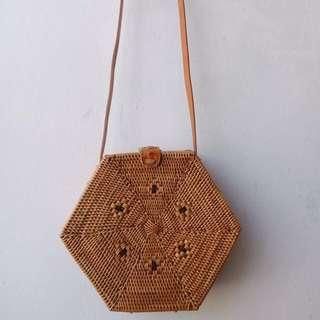 Hexagon Unique Rattan/Woven Bag Bali