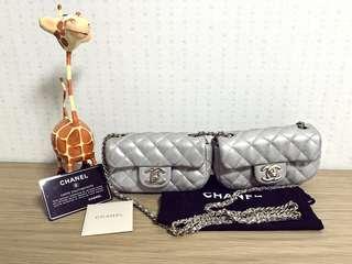 現貨Chanel珠光銀尼龍x羊皮銀扣雙星子Twins mini flap bag 14x8x4.5 for 1