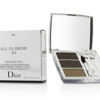 Christian Dior All-in-Brow 3D Long-Wear Brow Contour Kit, 001 Brun/Brown, 0.26 Ounce