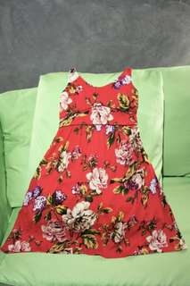 Used Once. Summer Floral Dress (Cotton fabric).