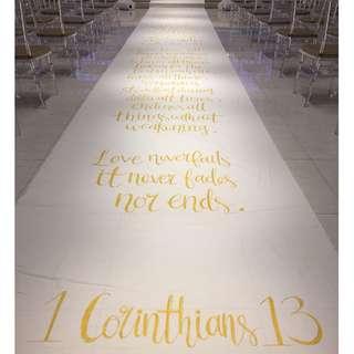 Calligraphy Wedding Aisle Runner