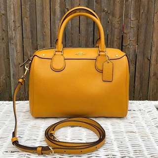 Coach Crossgrain Leather Mini Bennett Satchel in Goldenrod