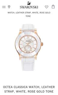 Swarovski Octea Classica Watch Leather Strap - White & Rose Gold Tone