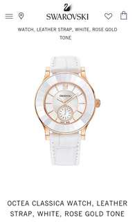 Swarovski Octea Classica Watch Leather Strap - White & Rose Gold Tone