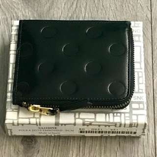 CDG Comme des Garcons Coin Wallet Pokka Dots Glossy Black