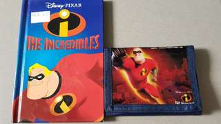 The Incredibles story book and new collectible Mr Incredible wallet with money notes, cards and coins with zip compartment